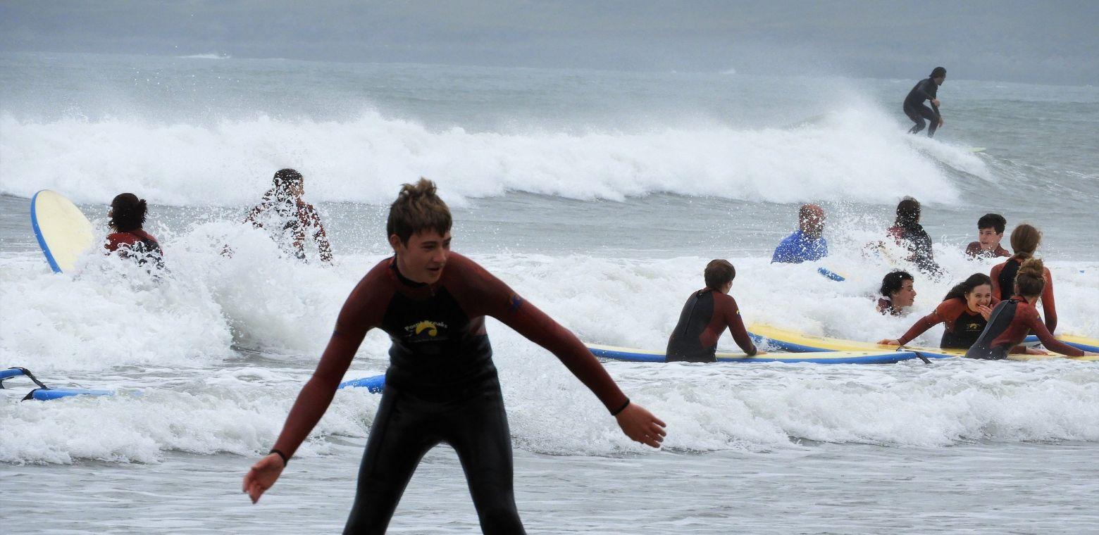 children surfing