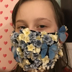 face mask decorated with flowers