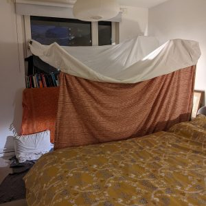 bedroom den made from blankets