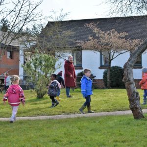 children playing on school grounds