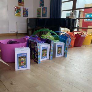 school play equipment with giant jenga