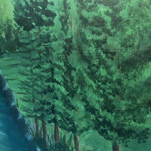 green painting of woodland