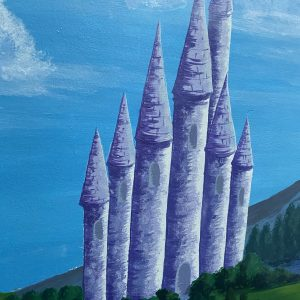 painting of a blue castle