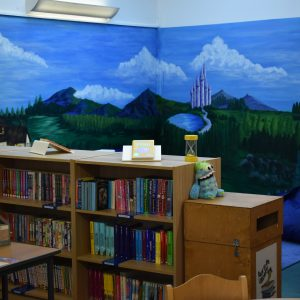 new school library castle mural painted on wall
