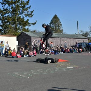 bike stunt on school trip