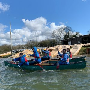 st chris school children rowing in boat