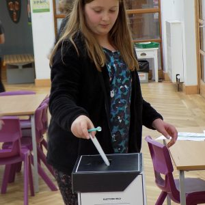 Year 5 girl using an elections box