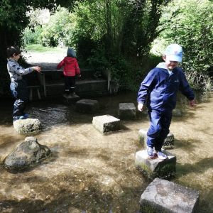 children using stepping stones to cross a river