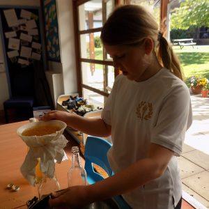 girl making elderflower cordial