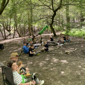 children eating outdoors on camping trip