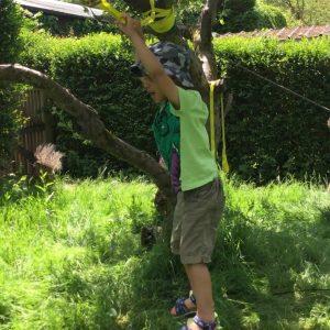 boy balancing on a tree tightrope